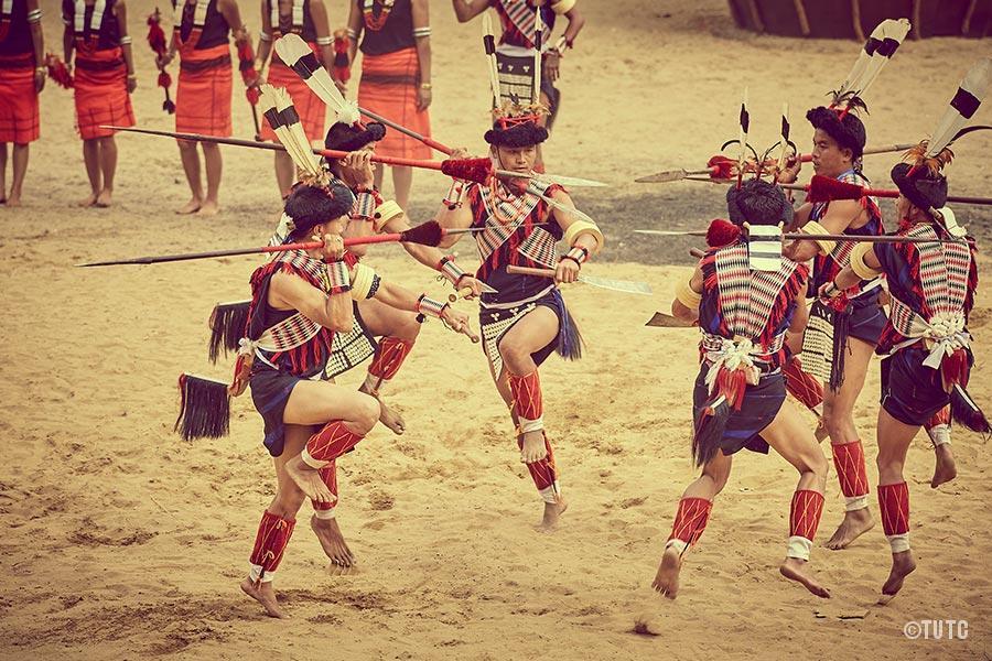 Einige Kämpfer auf dem Hornbill Festival